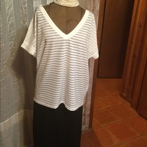 Desigual white with sheer stripes short sleeve top